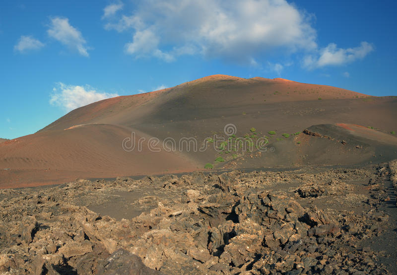 Volcanic stone desert landscape, Lanzarote island - Canary islands - Spain