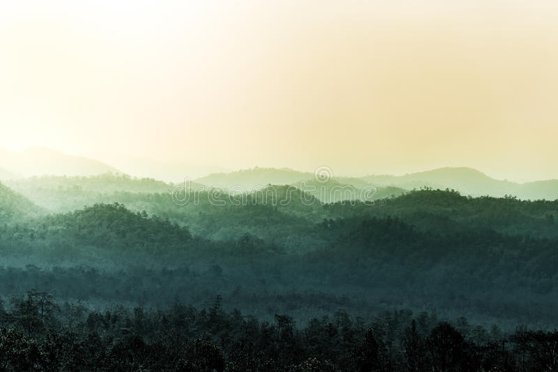 Landscape of layer of mountain. Imbue tone stock photography