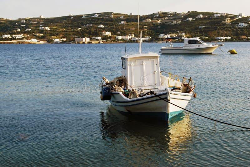 Landscape of Leros island, Dodecanese islands, Greece. Fishing boats on Aegean sea, landscape of Leros island, Dodecanese islands, Greece stock images