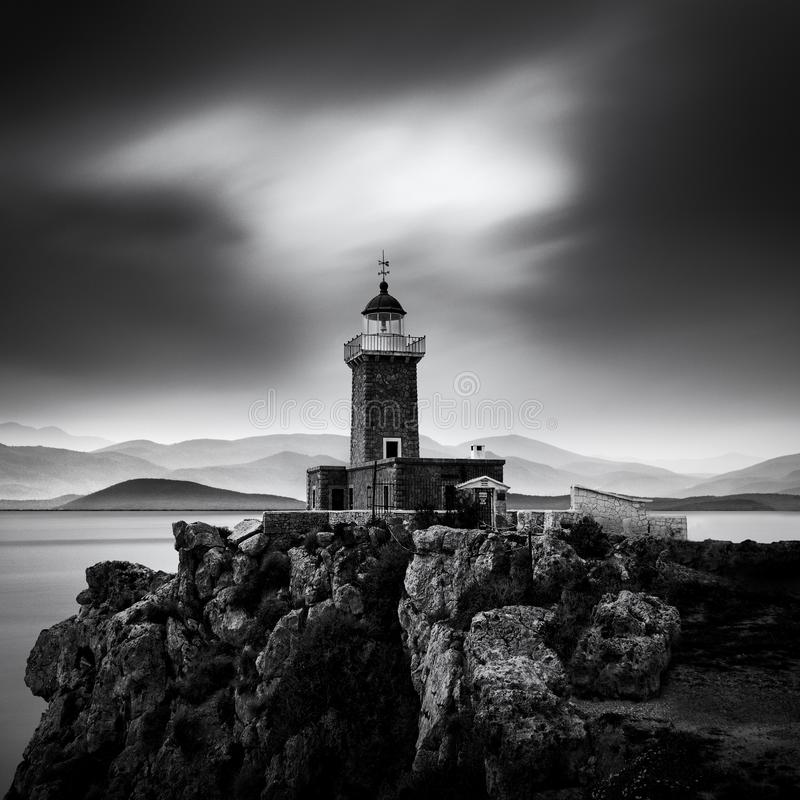 Landscape with lighthouse building royalty free stock photo