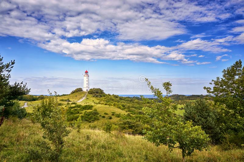 landscape and lighthouse Dornbusch at Hiddensee island stock photo