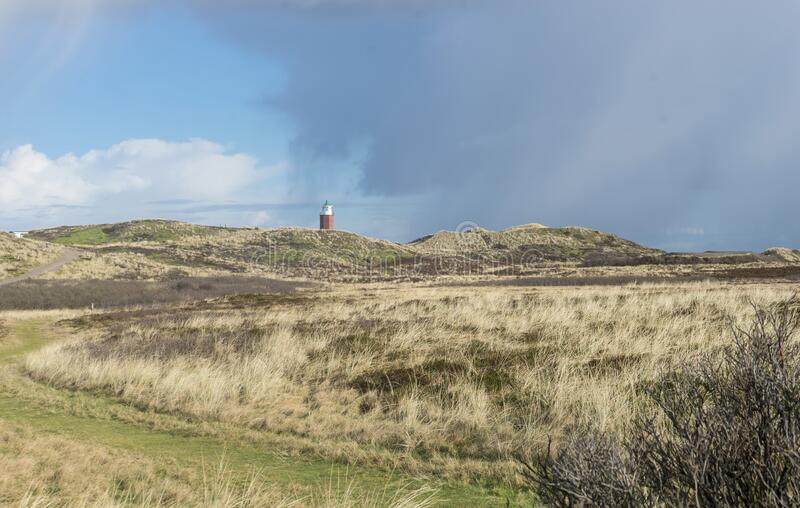Landscape with lighthouse on the island of Sylt stock image