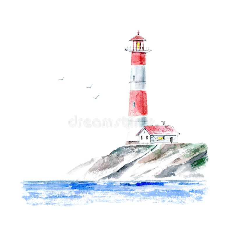 Landscape of a lighthouse and the ocean.Sea picture. stock images