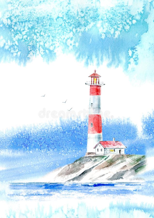 Landscape of a lighthouse and the ocean.Sea picture. royalty free stock photos