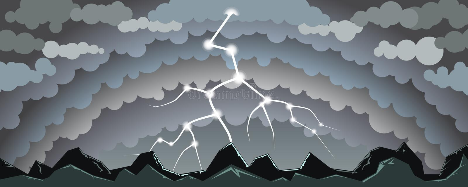 Landscape with lightning royalty free stock photos