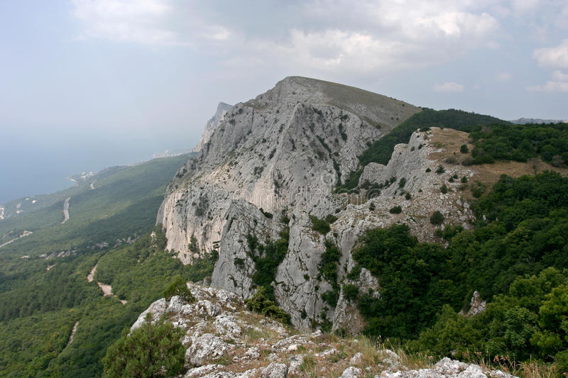 Landscape with limestone cliffs in Crimean Mountains. royalty free stock photos
