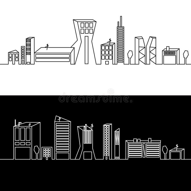 Landscape line vector illustration. With skyscrapers and trees royalty free illustration