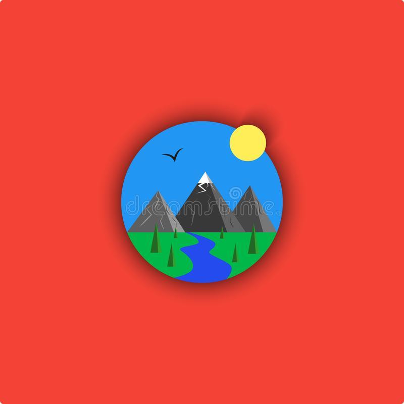 Landscape logo cartoon illustration, minimalistic outdoor emblem, sky, river, mountain, sun, spruce, bird, grass, material design royalty free illustration