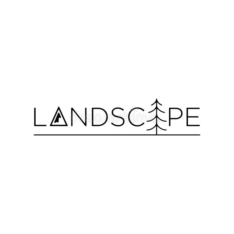 Landscape logo text vector design symbol icon royalty free illustration