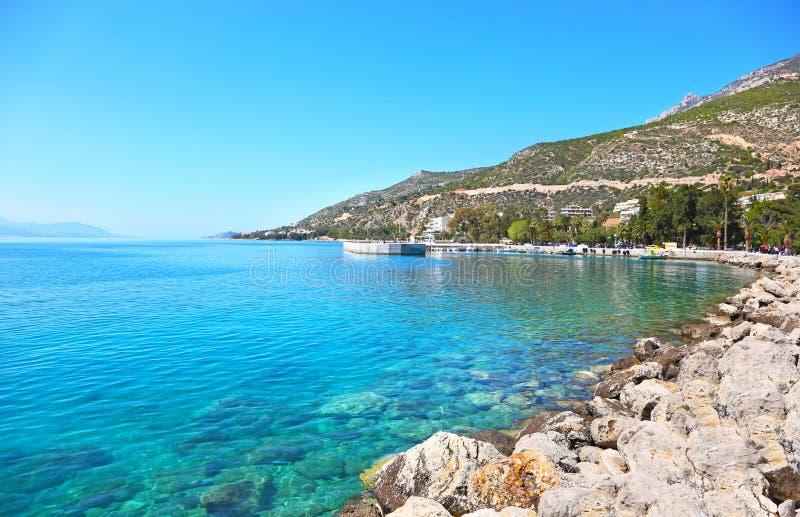 Landscape of Loutraki Corinthia Greece - gulf of Corinth royalty free stock photo