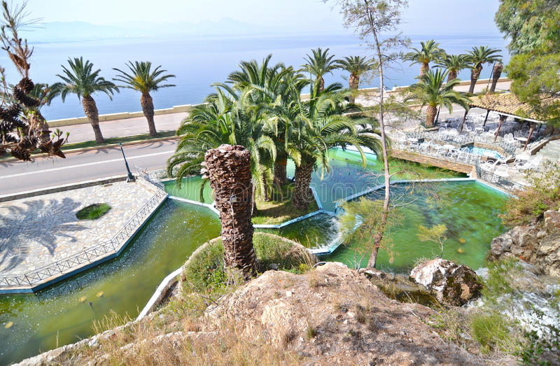 Landscape of Loutraki Greece stock photography