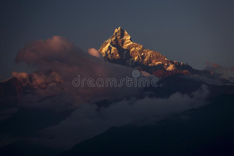Landscape with Machapuchare-Fishtail peak during trekking in Him. Alaya Mountains, Nepal stock photography