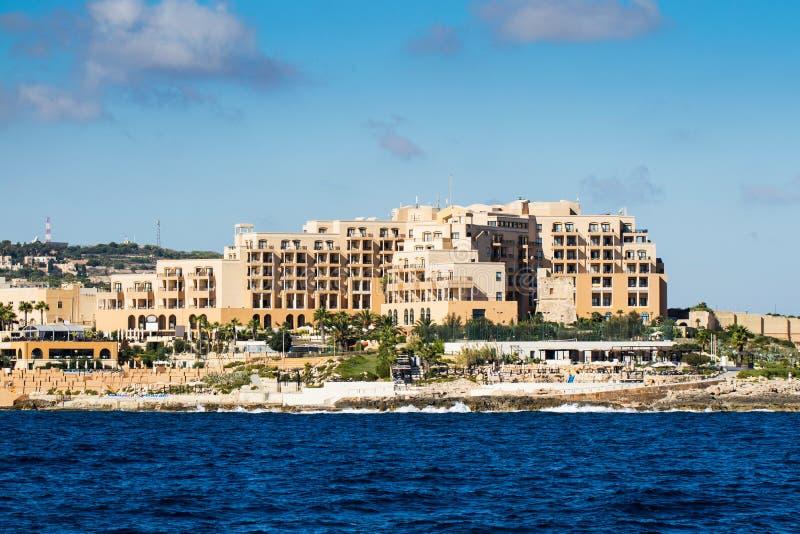 Malta coast hotels royalty free stock images