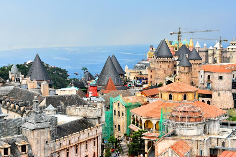 Many building Europe style look like the castle on Bana Hills,Da Nang,Vietnam. stock images