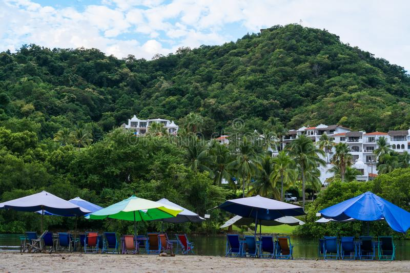 Landscape with many colors in the Juluapan lagoon in Manzanillo Colima. There are many colors in the beach furniture Boquita in Manzanillo Colima Mexico royalty free stock photos