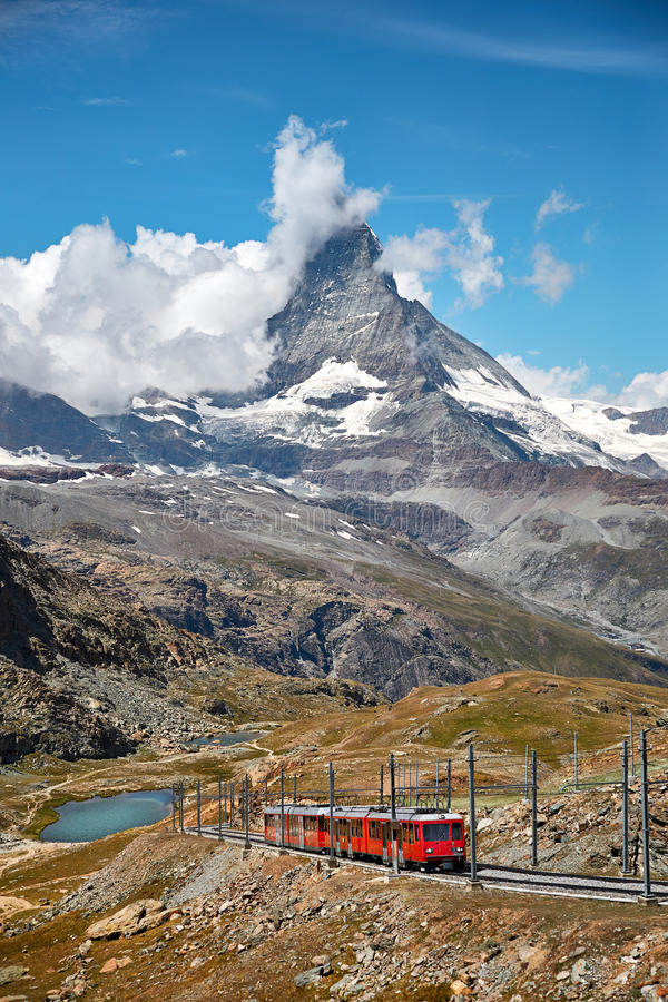 Landscape of Matterhorn mountain with railway, swiss Alps stock image