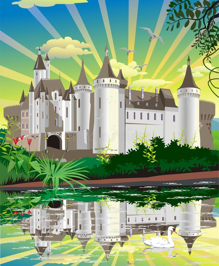 The landscape is a medieval castle above the lake with swans vector illustration