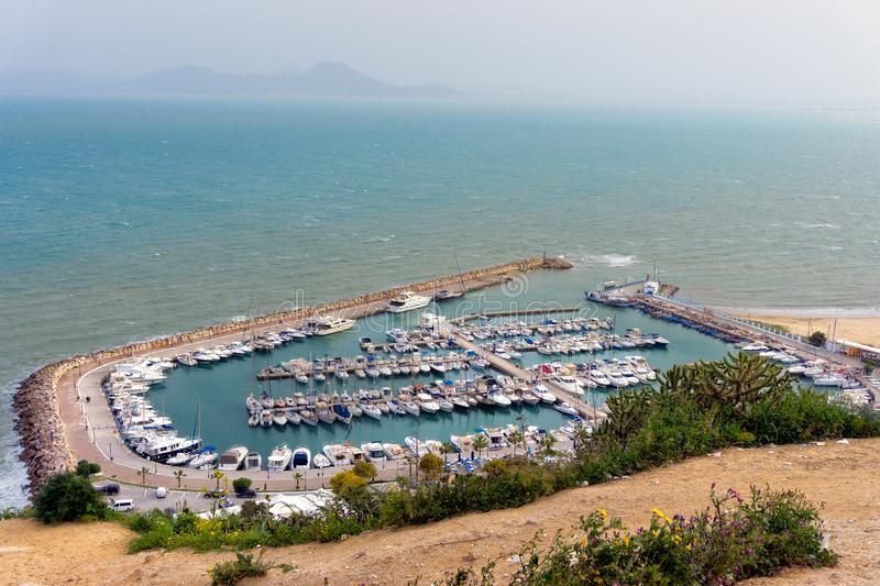 Landscape of the Mediterranen Sea and Boats, Sidi Bou Said, Tunisia royalty free stock photos