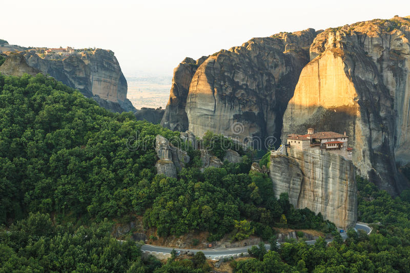 Landscape of meteora in the morning with monastery on top of the mountain, Greece royalty free stock photos