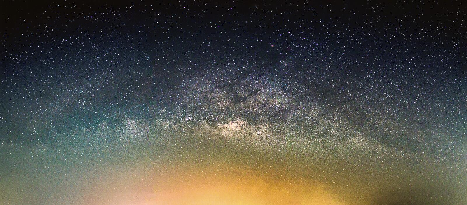 Landscape with Milky way galaxy. royalty free stock photography