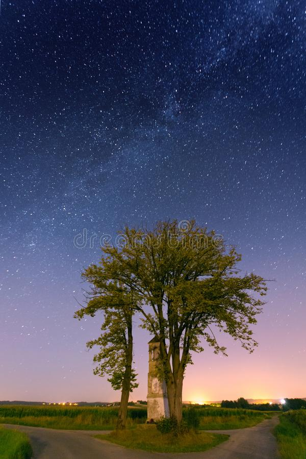 Landscape with Milky way galaxy stock image