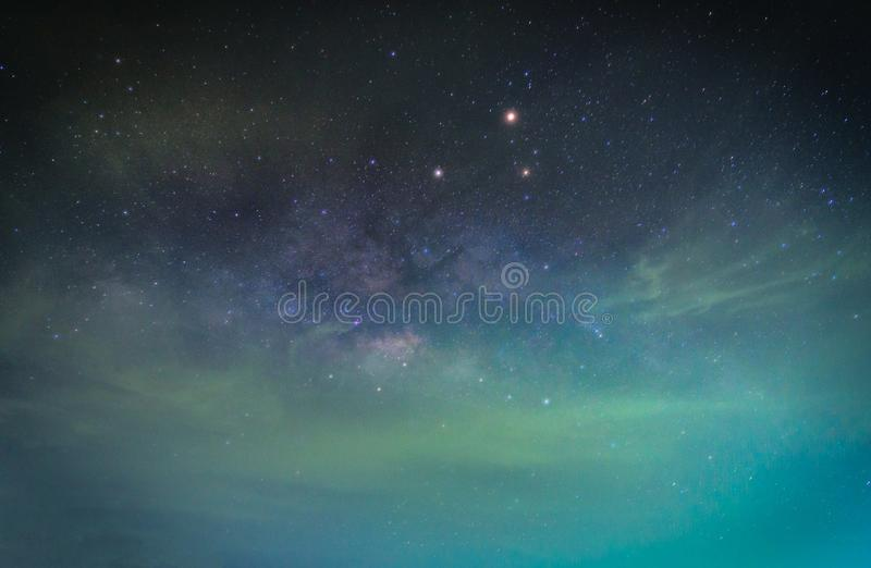 Landscape with Milky way galaxy. Night sky with stars. Long expo. Sure photograph stock photos