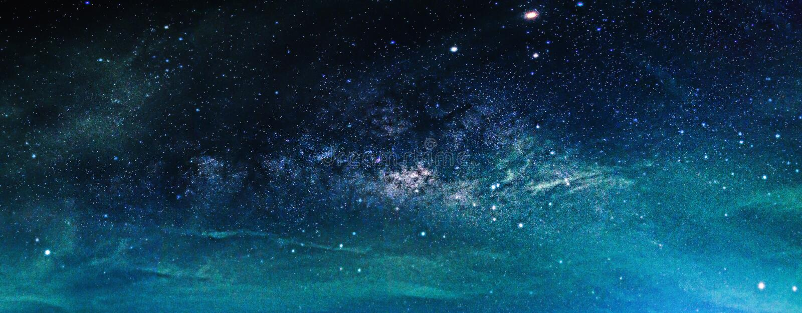 Landscape with Milky way galaxy. Night sky with stars stock images