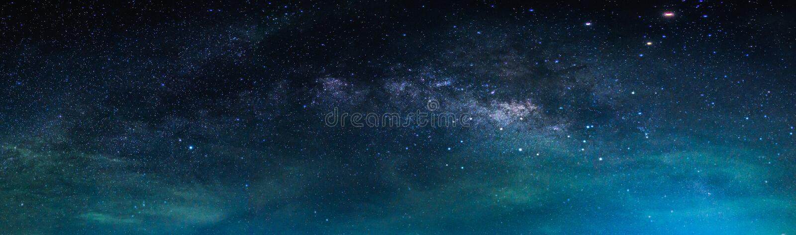 Landscape with Milky way galaxy. Night sky with stars stock photography