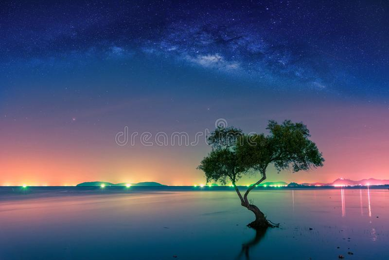 Landscape with Milky way galaxy. Night sky with stars and silhouette mangrove tree in sea. Long exposure photograph. royalty free stock photos