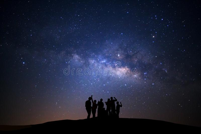 Landscape with milky way, Night sky with stars and silhouette of royalty free stock images