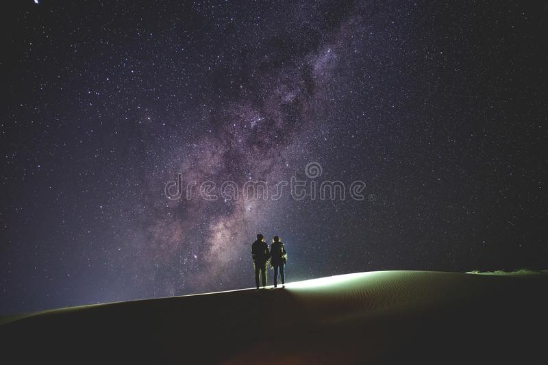 Download Landscape With Milky Way. Night Sky With Stars And Silhouette Of Stock Photo - Image of beauty, freedom: 120080806