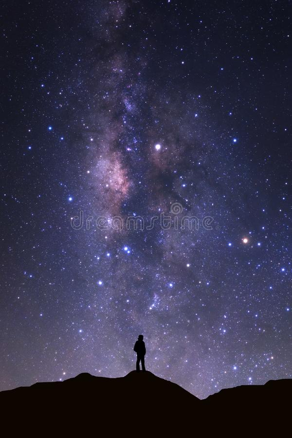 Landscape with milky way, Night sky with stars and silhouette of royalty free stock photos