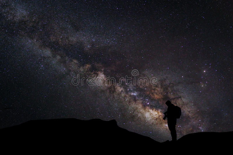 Landscape with milky way, Night sky with stars and silhouette of stock photography