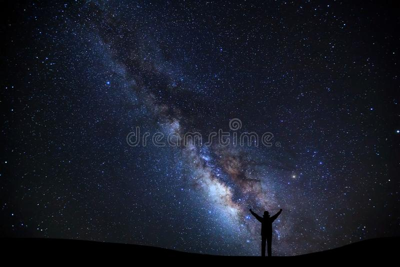 Landscape with milky way, Night sky with stars and silhouette of stock photos