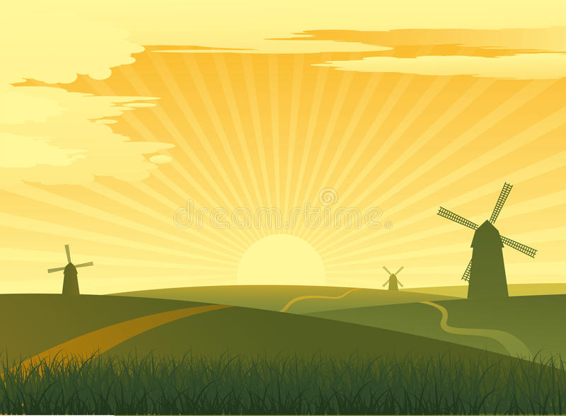 Download Landscape with mills stock vector. Illustration of sunlight - 19466515