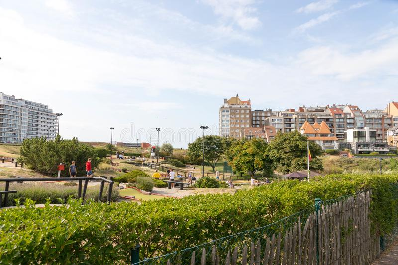 Landscape  scene MIniGolf miniature golf in belgium knokke at the nordic sea stock images
