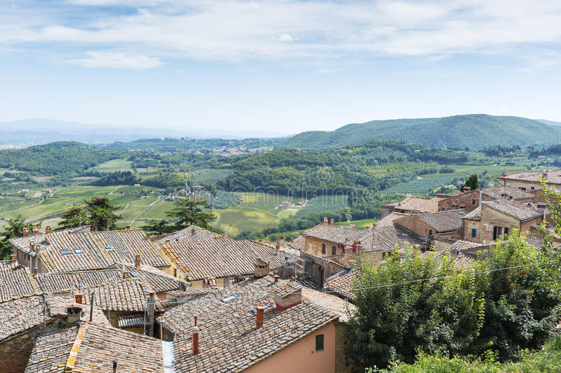 Landscape Montepulciano. View from Montepulciano Tuscany, Italy, to landscape with blue sky in summer stock photo