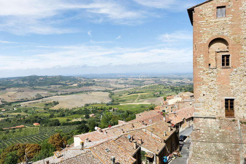 Landscape Montepulciano. View from Montepulciano Tuscany, Italy, to lanscape with blue sky in summer royalty free stock photos