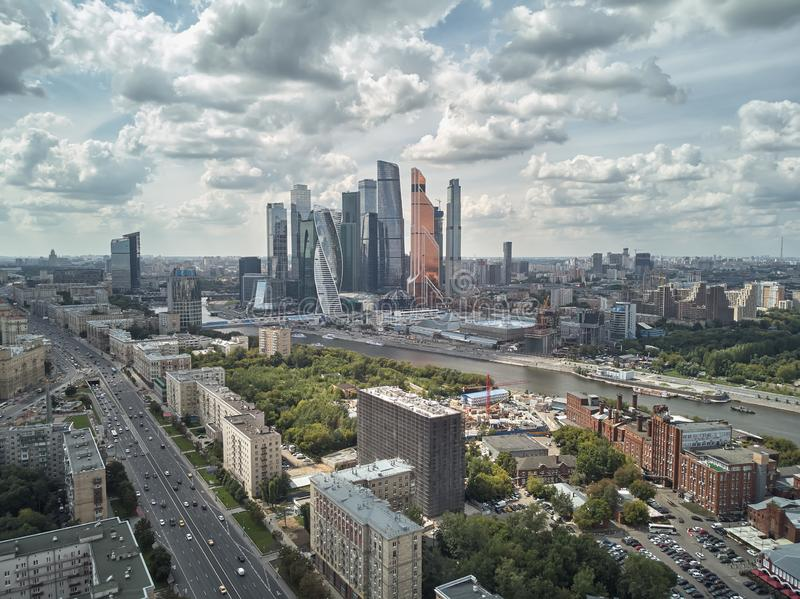 Landscape of Moscow architecture combining modern and old city, Russia. Outdoor modern Moscow city skyscrapers. Aerial stock photo
