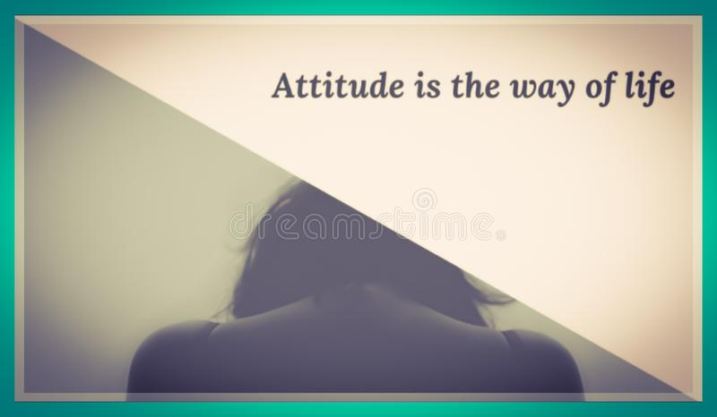 Landscape of motivational writing poster about attitude royalty free stock image