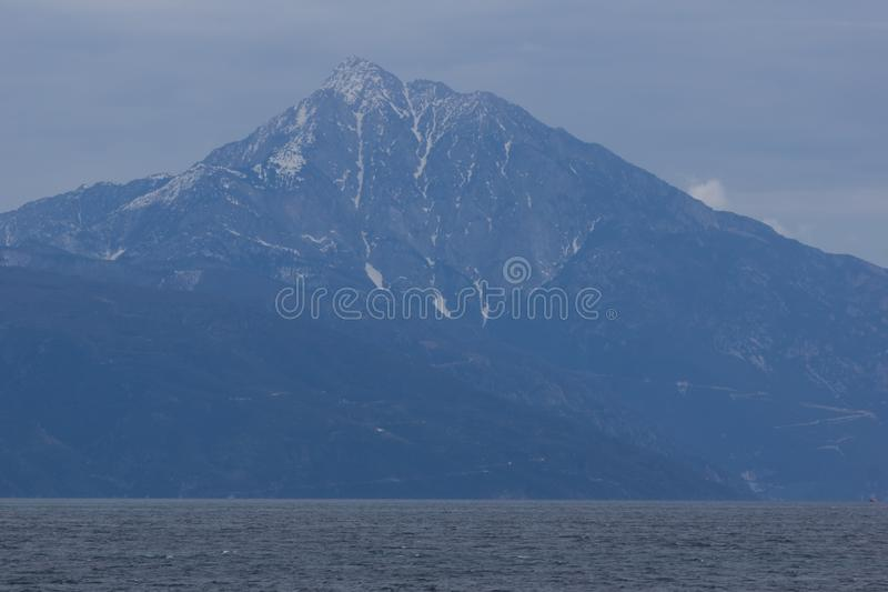 Landscape of Mount Athos in Autonomous Monastic State of the Holy Mountain, Chalkidiki, Greece. Amazing landscape of Mount Athos in Autonomous Monastic State of royalty free stock photo