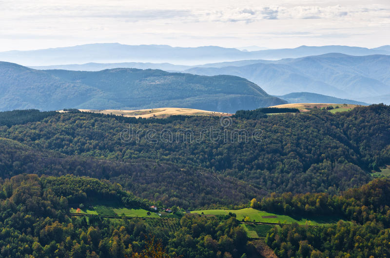 Landscape of mount Bobija, peaks, hills, meadows and colorful forests stock photos