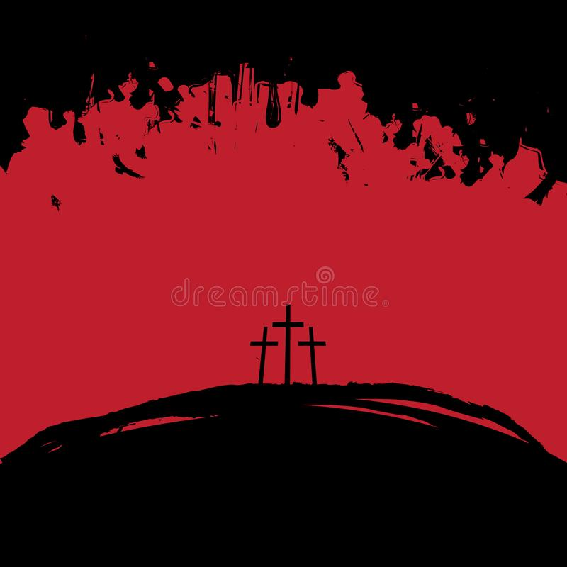 Landscape with Mount Calvary and three crosses. Vector illustration on Christian theme with three crosses on Mount Calvary in black and red colors on abstract vector illustration