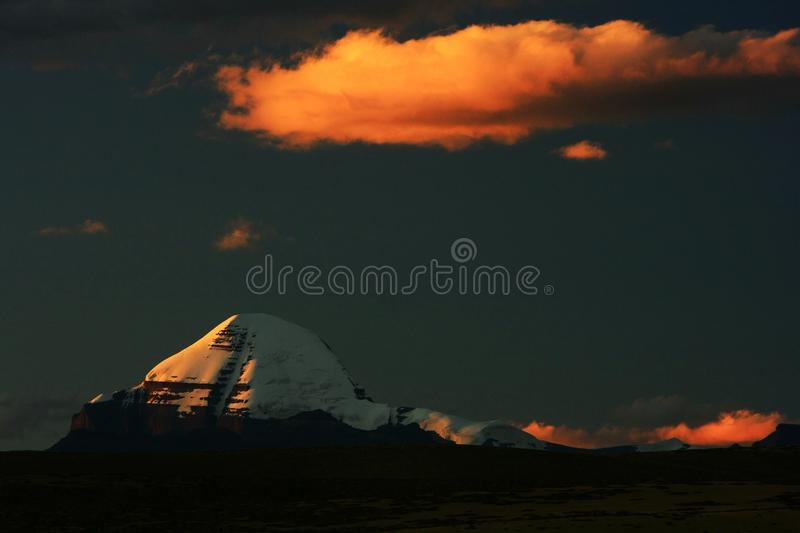 Landscape of Mount Kailash. Mount Kailash & x28;also Mount Kailas; Kangrinboqê or Gang Rinpoche & x29; is a peak in the Kailash Range & x28;Gangdisê stock images