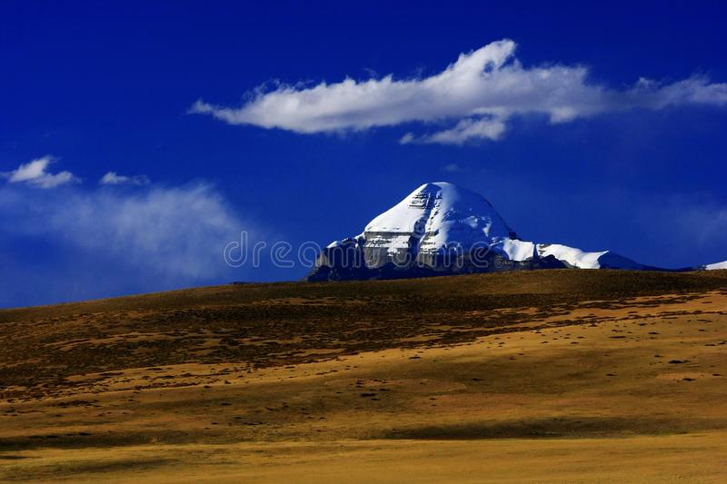 Landscape of Mount Kailash. Mount Kailash & x28;also Mount Kailas; Kangrinboqê or Gang Rinpoche & x29; is a peak in the Kailash Range & x28;Gangdisê royalty free stock image