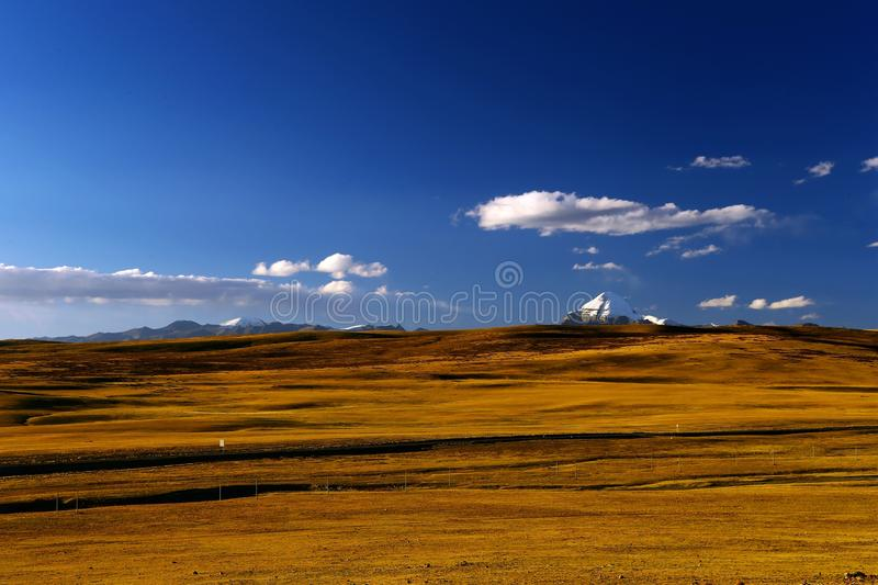 Landscape of Mount Kailash. Mount Kailash & x28;also Mount Kailas; Kangrinboqê or Gang Rinpoche & x29; is a peak in the Kailash Range & x28;Gangdisê royalty free stock photos