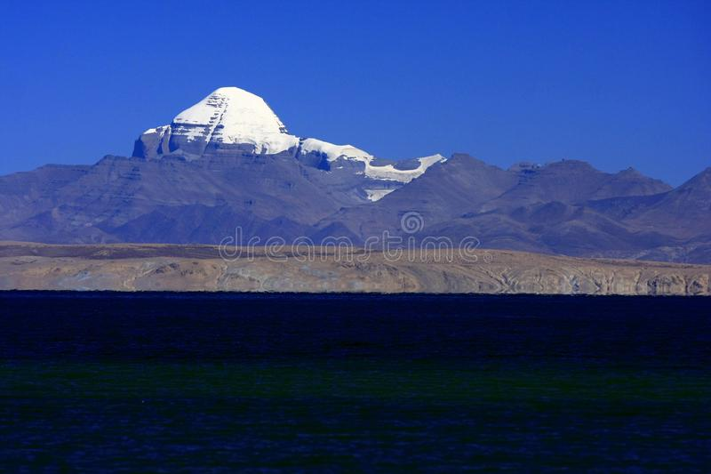 Landscape of Mount Kailash. Mount Kailash & x28;also Mount Kailas; Kangrinboqê or Gang Rinpoche & x29; is a peak in the Kailash Range & x28;Gangdisê royalty free stock images