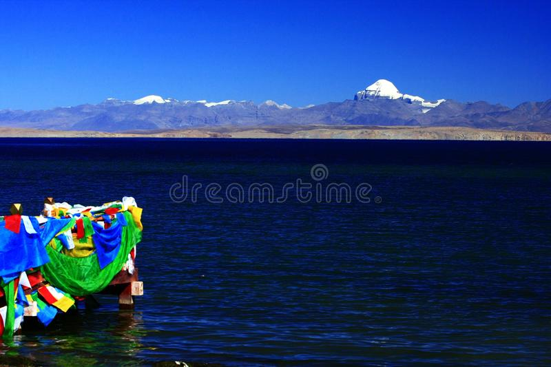 Landscape of Mount Kailash. Mount Kailash & x28;also Mount Kailas; Kangrinboqê or Gang Rinpoche & x29; is a peak in the Kailash Range & x28;Gangdisê stock image