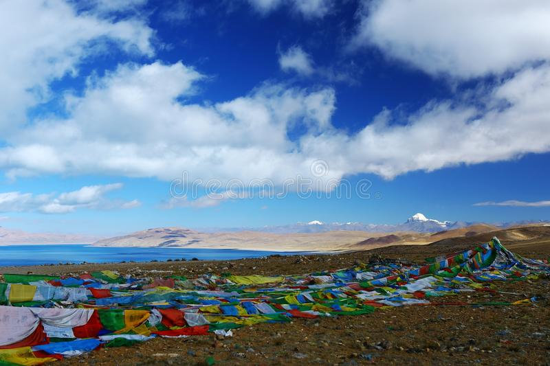 Landscape of Mount Kailash. Mount Kailash & x28;also Mount Kailas; Kangrinboqê or Gang Rinpoche & x29; is a peak in the Kailash Range & x28;Gangdisê stock photo