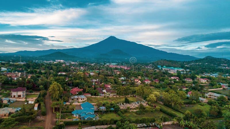 The landscape of Mount meru in Arusha, Tanzania. Mount meru in Arusha, Tanzania stock photo